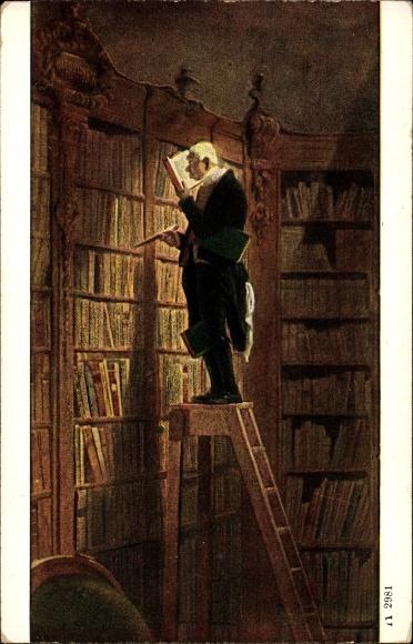 Künstler Ak Spitzweg, Carl, Der Bücherwurm, Mann in der Bibliothek, Ackermann Nr. 2981
