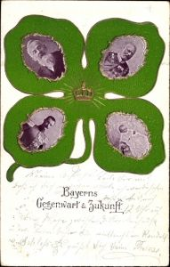 Präge Kleeblatt Ak Bayerns Gegenwart und Zukunft, Prinzregent Luitpold, Ludwig III., Rupprecht