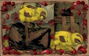 Präge Litho Glückwunsch Ostern, Zwei Küken und Ostereier, Tasche