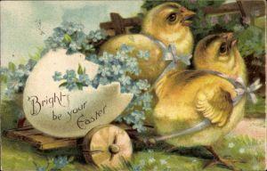 Präge Litho Glückwunsch Ostern, Zwei Küken ziehen einen Karren mit Eierschale