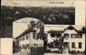 Ak Neufürstenhütte Großerlach Rems Murr Kreis, Geschäftshaus von Carl Staiger, Schule, Rathaus