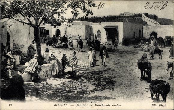 Ak Bizerte Tunesien, Quartier de Marchands arabes, Viertel der arabischen Händler
