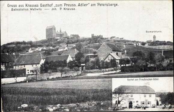 Ak Wallwitz Petersberg im Saalekreis, Gasthof zum Preußischen Adler, Inh. P. Krause, Bismarck Turm