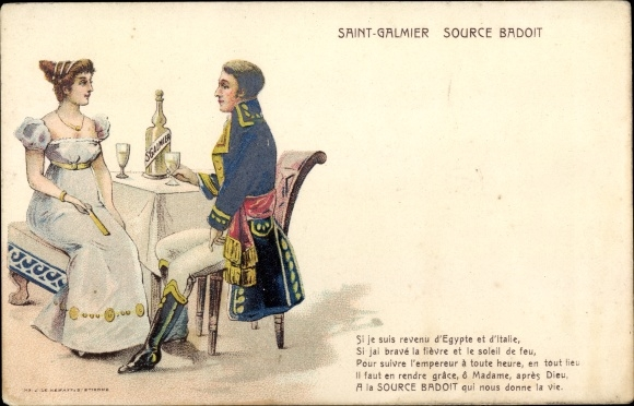 Künstler Ak Saint Galmier, Source Badoit, Mineralwasser