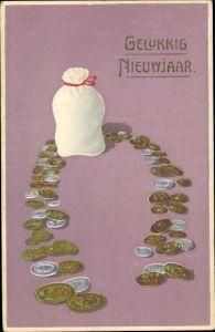 Präge Ak Gelukkig Nieuwjaar, Glückwunsch Neujahr, Münzen