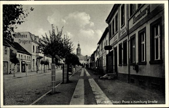 Ak Neustadt Dosse in Brandenburg, Prinz von Homburg Straße, Apotheke
