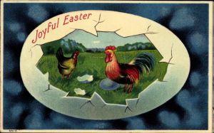 Präge Litho Glückwunsch Ostern, Hahn und Huhn auf einer Wiese, Osterei