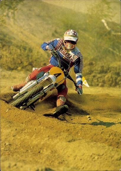 Ak Motorradfahrer bei einem Motorradrennen, Motocross, Yamaha