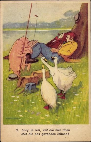 Künstler Ak Zwei Clown schlafen unter einem Baum, Schweine mit Angel, Gänse
