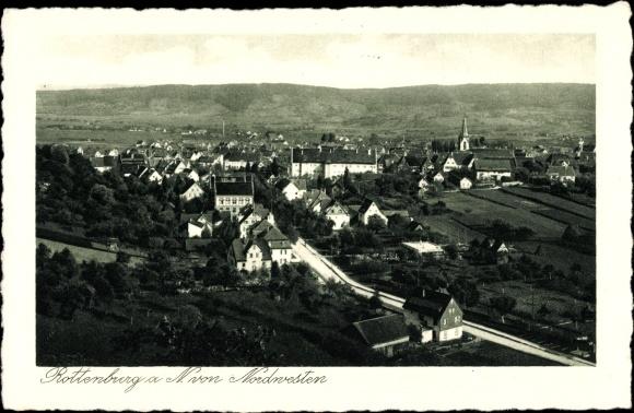 Präge Passepartout Ak Rottenburg am Neckar Baden Württemberg, Blick auf den Ort mit Umgebung