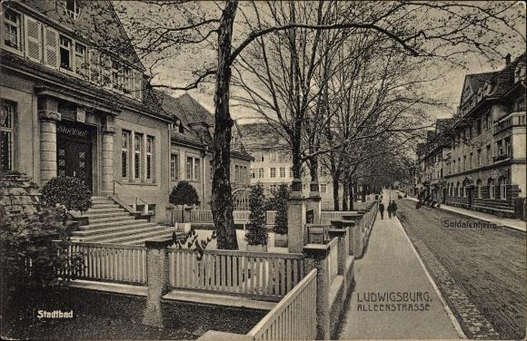 Ak Ludwigsburg in Baden Württemberg, Alleenstraße, Stadtbad, Soldatenheim