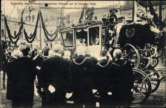 Ak Berlin, Einholung der Prinzessin Alexandra Viktoria, Oberbürgermeister Kirschner, Kutscher