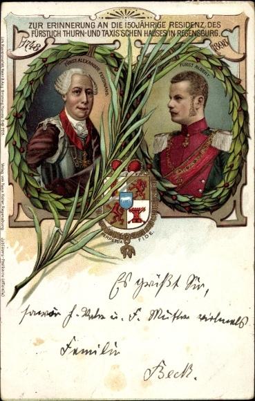 Litho Fürst Alexander Ferdinand, Fürst Albert, Thurn und Taxis, Regensburg