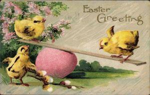 Präge Litho Glückwunsch Ostern, Küken auf einer Wippe, Osterei, Weidenkätzchen