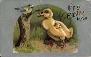 Präge Litho Glückwunsch Ostern, Küken beobachtet eine Meise