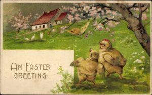 Präge Litho Glückwunsch Ostern, Küken und Schmetterling in einer Frühlingslandschaft