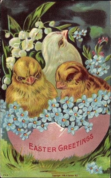 Präge Litho Glückwunsch Ostern, Drei Küken in einem halben Ei, Vergissmeinnicht