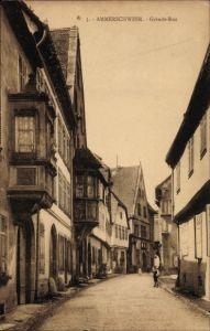 Ak Ammerschwihr Ammerschweier Elsass Haut Rhin, Grande Rue, Straßenpartie