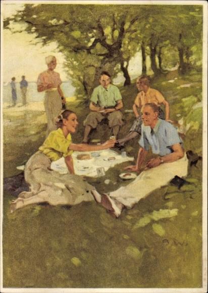 Künstler Ak Reklame Indanthren, Männer und Frauen bei einem Picknick, Kleidung, farbige Stoffe