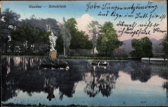 Ak Glauchau an der Zwickauer Mulde in Sachsen, Ruderpartie auf dem Gründelteich