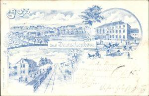 Litho Deutschenbora Nossen Landkreis Meißen, Gasthof Deutschenbora, Bahnhof, Panorama