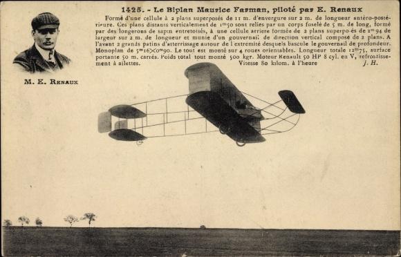 Ak Le Biplan Maurice Farman, piloté par E. Renaux