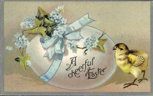 Präge Litho Glückwunsch Ostern, Geschmücktes Osterei und Küken