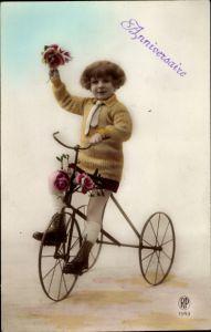 Ak Glückwunsch, Anniversaire, Kind auf einem Dreirad