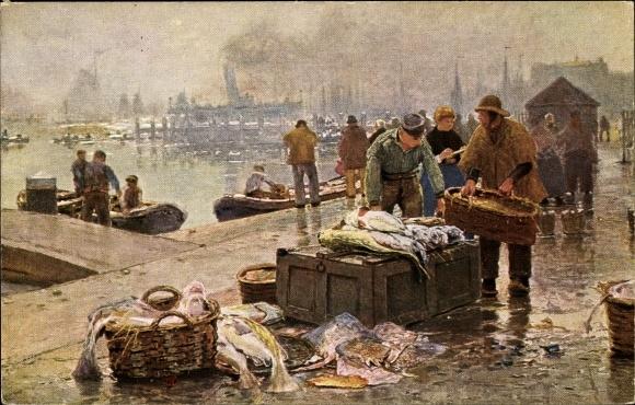 Künstler Ak Herrmann, Hans, Amsterdam, Fischmarkt am Y, Fischer, Senftenberger Krone Briketts