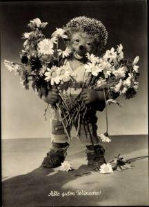 Ak Mecki der Igel, Alle guten Wünsche, Blumenstrauß