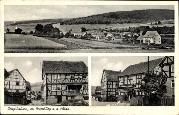 Ak Rengshausen Knüllwald in Hessen, Blick auf den Ort mit Umgebung, Dorfpartie, Fachwerkhäuser