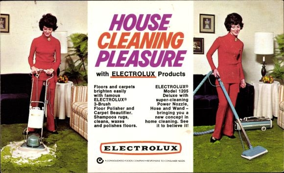Ak House Cleaning Pleasure with Electrolux Products, Frau bei der Teppichreinigung, Staubsauger