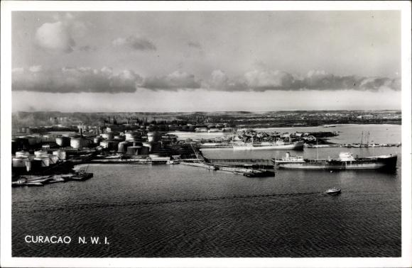 Ak Curaçao, Shell Oil Refinery, Ölraffinerie, Tanks, Hafenanlagen, Fliegeraufnahme