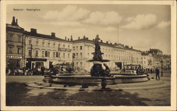Ak Helsinki Helsingfors Finnland, Vallgrens springbrunn, Vallgren' in suihkukaivo, Brunnen, Geschäft