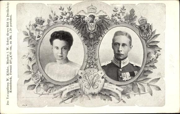 Wappen Ak Kronprinz Wilhelm von Preußen, Kronprinzessin Cecilie von Preußen