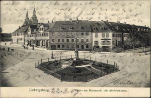Ak Ludwigsburg in Baden Württemberg, Partie am Holzmarkt mit Abelsbrunnen