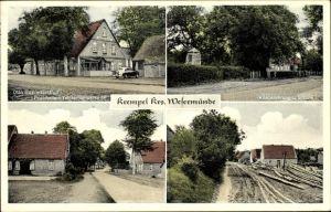 Ak Krempel Geestland Landkreis Cuxhaven, Gasthof von Otto Butt, Kriegerdenkmal, Schule, Straßen