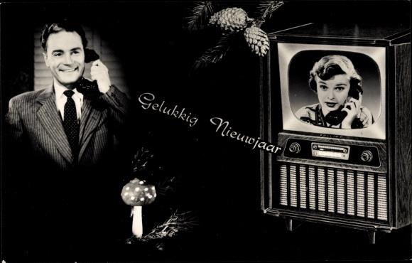 Ak Gelukkig Nieuwjaar, Glückwunsch Neujahr, Telefon, Fernseher, Pilz, Kiefernzapfen