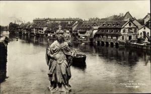 Ak Bamberg an der Regnitz Oberfranken, Regnitz Partie mit hl. Kunigunde