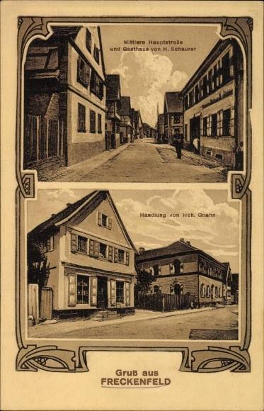 Ak Freckenfeld Rheinland Pfalz, Hauptstraße, Gasthaus von H. Schaurer, Handlung von Hch. Gnahn