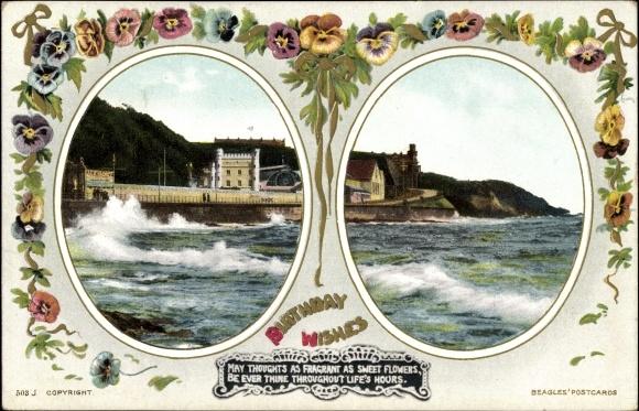Passepartout Ak Gluckwunsch Geburtstag Birthday Wishes Kustenpartie In England Beagles Postcard 0