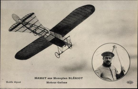 Ak Mamet sur Monoplan Blériot, Moteur Gnôme, Flugpionier