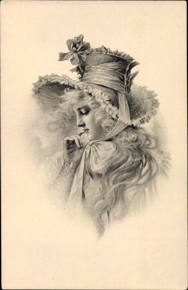Künstler Ak Portrait einer jungen Frau, Handschuhe, Munk