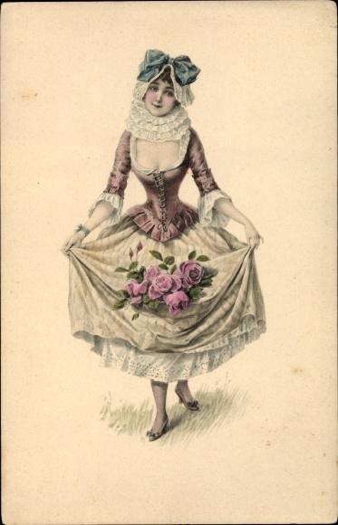 Künstler Ak Portrait einer jungen Frau, Blumen, Munk 505