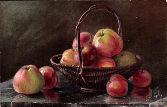 Künstler Ak Golay, Mary, Stillleben, Äpfel in einem Korb