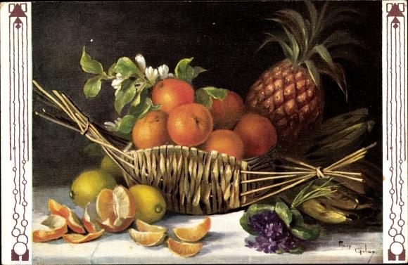 Künstler Ak Golay, Mary, Stillleben, Ananas, Orangen, Bananen