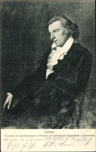 Künstler Ak Simanowitz, Friedrich Schiller, Portrait, Schillermuseum Marbach