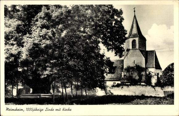 Ak Meimsheim Brackenheim Baden Württemberg, 1000 jährige Linde mit Kirche