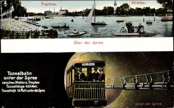 Ak Alt Treptow in Berlin, Bootspartie, Tunnelbahn unter der Spree