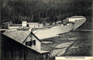 Ak Maienfeld Kt. Graubünden Schweiz, Festung Luziensteig, Mauer